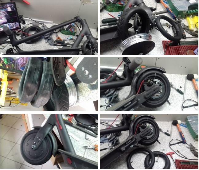 после замены покрышки и колеса электросамоката Mini Gogo