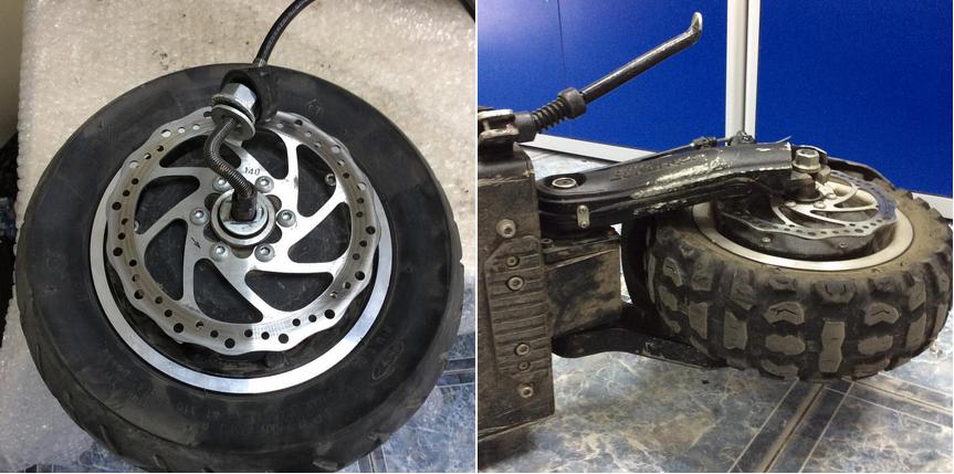 фото до и после ремонта колеса электросамоката Ultron